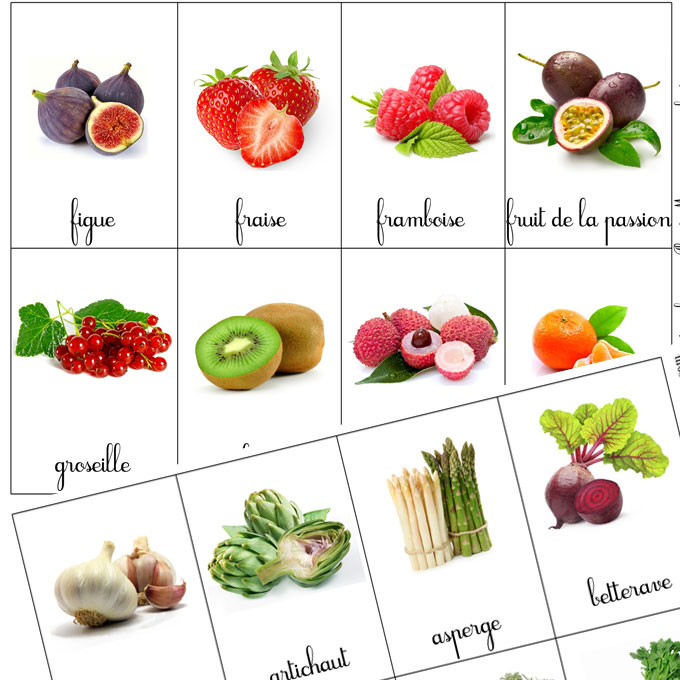 Montessori cartes de nomenclatures fruits et l gumes t l charger et imprimer plus de - Jeux ou on coupe des fruits ...