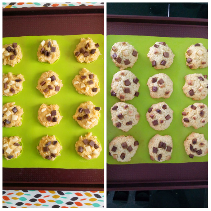 cookies moelleux chocolat avant apres