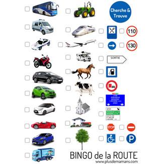 jeu bingo route à imprimer