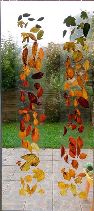 rideaux d 39 automne diy activit s manuelles r aliser avec des feuilles mortes plus de mamans. Black Bedroom Furniture Sets. Home Design Ideas
